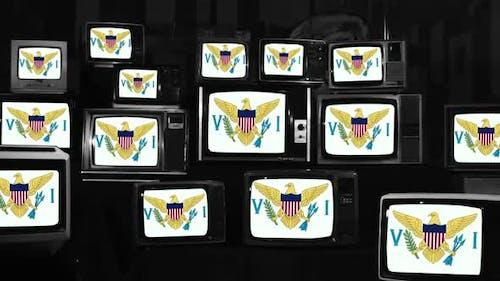 Flag of the United States Virgin Islands on Vintage TVs.