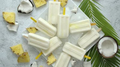 Homemade Vegan Popsicles Made with Coconut Milk and Pineapple