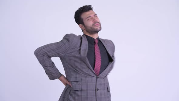 Thumbnail for Stressed Bearded Persian Businessman Having Back Pain