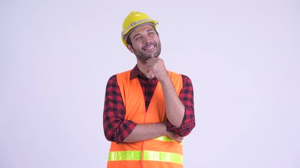 Thumbnail for Happy Bearded Persian Man Construction Worker Thinking