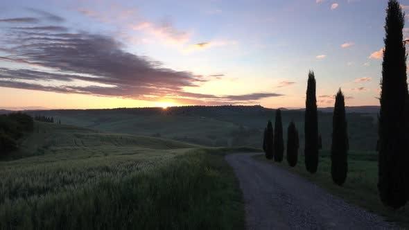 Thumbnail for Tuscany Hills Landscape at Sunrise Timelapse
