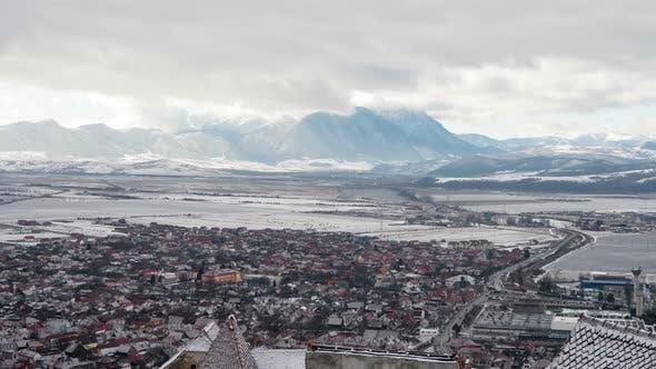 Timelapse of Rasnov on a winter day