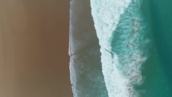 Thumbnail for Aerial Top View on Ocean Waves and Sandy Beach