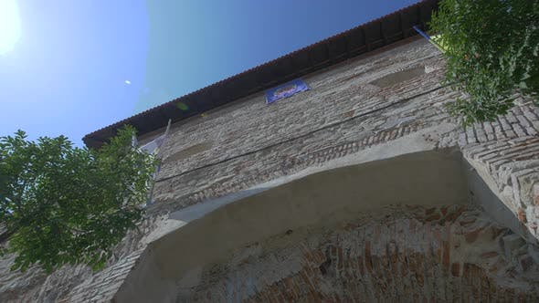 Low angle of a brick building
