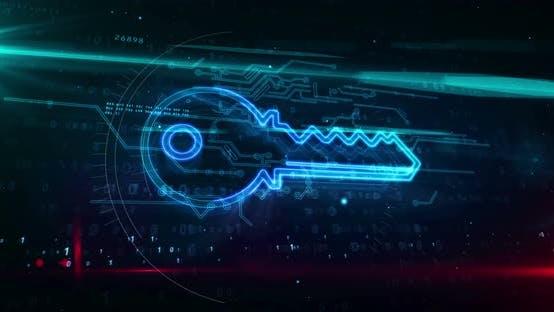 Key encryption symbol abstract loopable animation