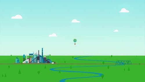Blue river, green meadow and a factory on cloudy sky background