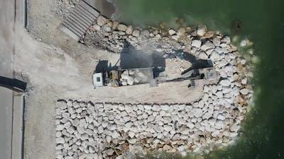 Tones Truck Being Emptied Drone