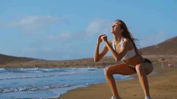 Thumbnail for Girl Making Workout Leg at the Beach
