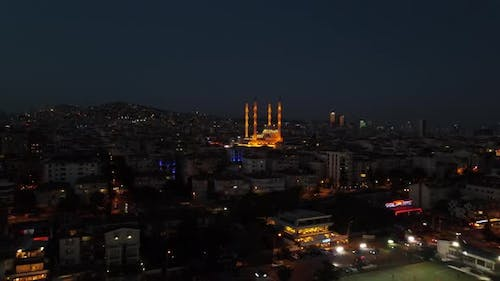Islamic Mosque at Night Drone