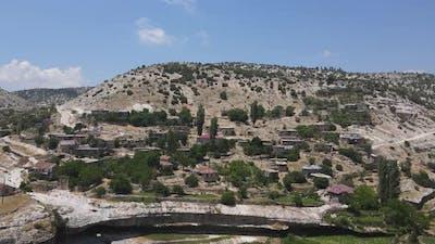 Village Stone Houses Hillside Drone