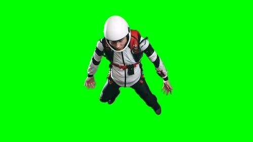 Professional Parachutist Falling Down