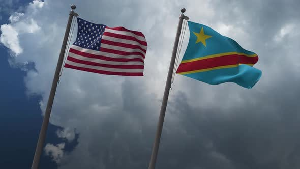 Waving Flags Of The United States And The  Democratic Republic Of The Congo 4K