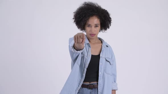 Thumbnail for Young Beautiful African Woman Pointing at Camera