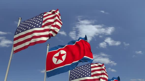 Thumbnail for Waving Flags of North Korea and the USA