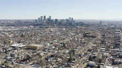 Denver Colorado Zooming City Skyline Aerial Shot