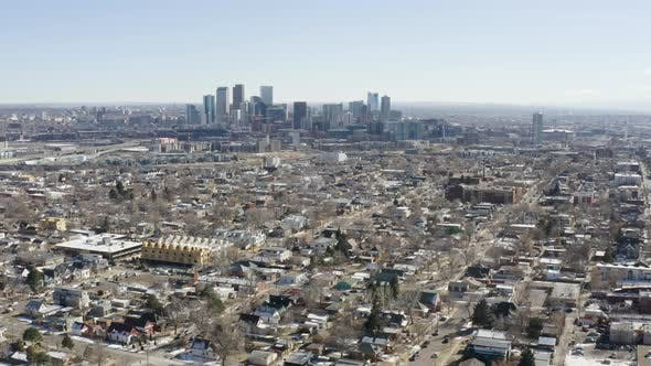 Thumbnail for Denver Colorado Zooming City Skyline Aerial Shot