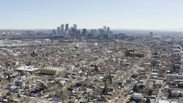 Cover Image for Denver Colorado Zooming City Skyline Aerial Shot