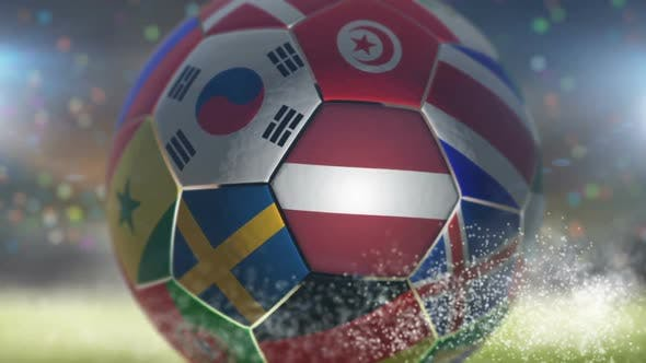 Thumbnail for Latvia Flag on a Soccer Ball - Football in Stadium