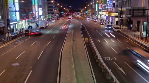 Japanese Multilane Highway Night Traffic Timelapse
