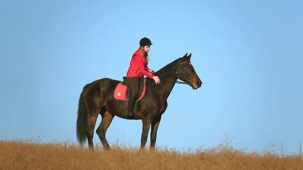 Thumbnail for Woman on a Horse Outdoors in the Field