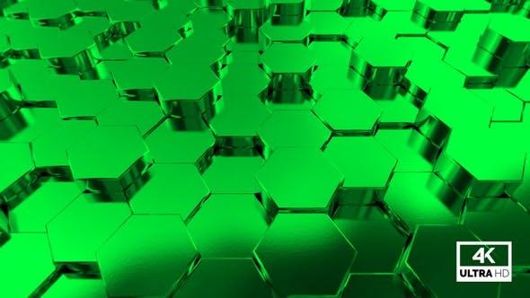 Thumbnail for Rising & Falling Shine Green Hexagon Seamless Looping Background