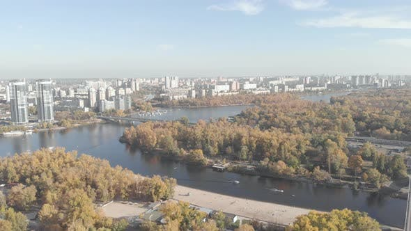 Thumbnail for The Left Bank of Kyiv in the Fall. Hydropark. Ukraine. Dnipro River. Aerial View