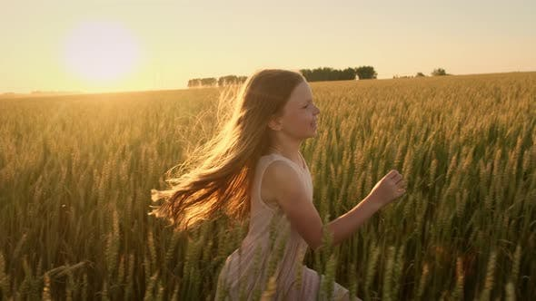Cover Image for Little Girl with Long Hair Runs Across the Field at Sunset