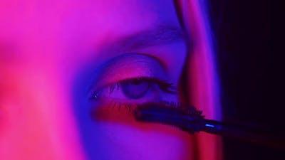 Eye Makeup in Neon Light