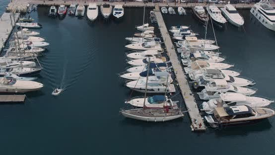 Thumbnail for Pier Sailboats. Yachts and Sailboat Is Moored at the Quay. Top View Above the Harbor.