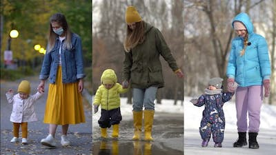 Collage Mom and Daughter Walking in a Summer Spring Winter