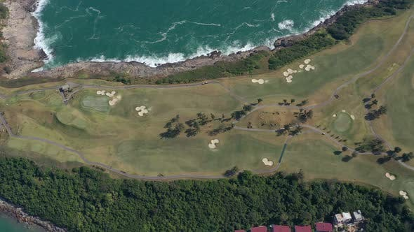 Thumbnail for Top view of seaside golf court