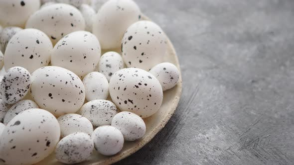 Thumbnail for Composition of White Traditional Dotted Easter Eggs in White Ceramic Plate