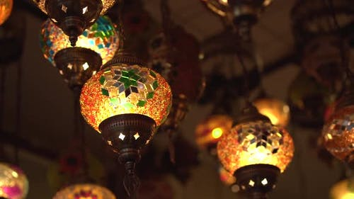 Traditional Lanterns of Yellow Colour with National Design
