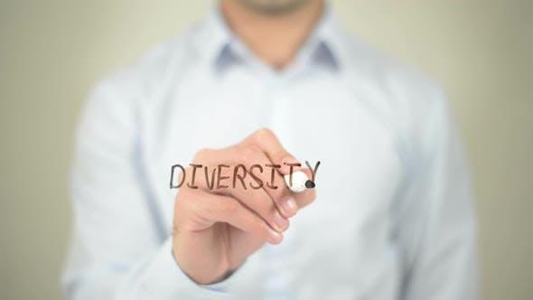 Thumbnail for Diversity, Businessman Writing on Transparent Screen