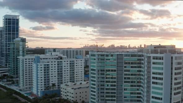Sunset Miami Beach Aerial 4K