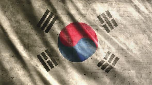 South Korea Flag Grunge