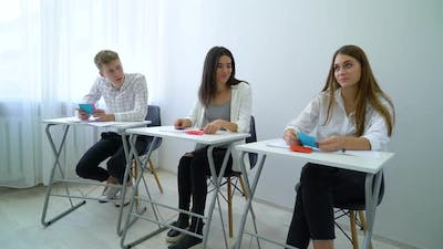 Student Using Cards in Class for Learning New Material