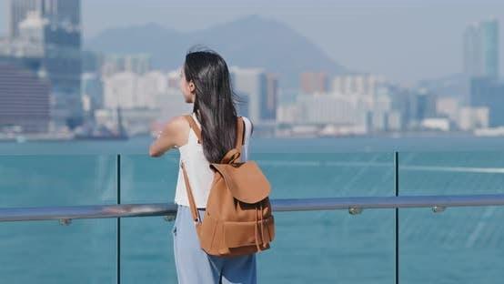 Thumbnail for Woman look at the kowloon side in Hong Kong