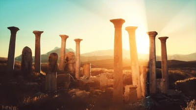 Old Greek Temple Ruins at Sunset