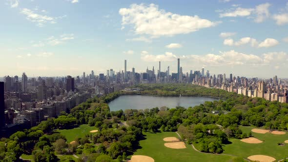 Central Park Aerial View, Manhattan, New York Park Is Surrounded by Skyscraper