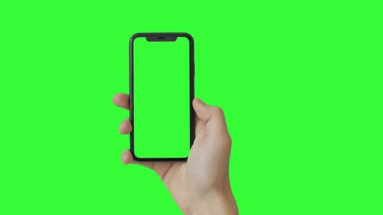 Thumbnail for Woman hand holding the smartphone on green screen chroma key background.