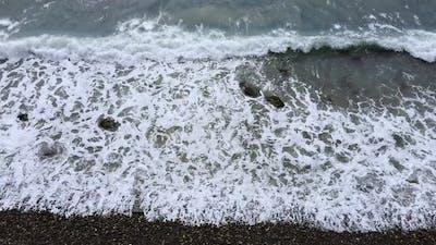 Foamy sea waves