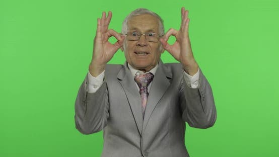 Thumbnail for Elderly Businessman Showing Ok Gesture. Old Man in Formal Wear Giving Okay Sign