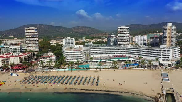 Thumbnail for Aerial Drone Footage Video of Magaluf Town Mallorca