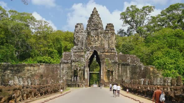 Thumbnail for 4K Bayon Temple Entrance Angkor Thom Gate in Siem Reap, Cambodia