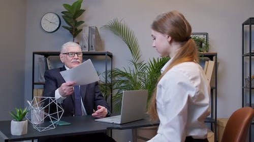 Young Woman Applicant Pass Job Interview for Enterprise Company Introduce Resume to Company Manager