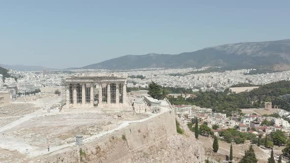 Aerial View of the Acropolis Constriction Site on Mountain Over Athens, Greece at Daylight