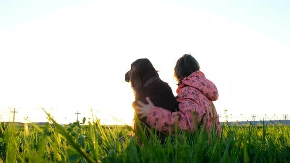Thumbnail for Woman Hugging a Dog at Sunset, a Young Girl with a Pet Sitting on the Grass and Relaxing in Nature