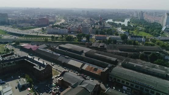 Thumbnail for Industrial District of the City, Old Factory Roofs, Road Traffic