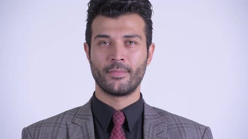 Face of Handsome Bearded Persian Businessman